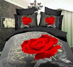 4pcs red rose wedding luxury 3d queen comforters bedding sets quilt duvet covers sets Bedspreads bedclothes with quilt