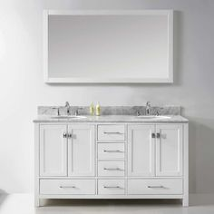 Virtu Caroline Avenue 60  Double Bathroom Vanity Set with Mirror Reviews Wayfair Supply Stufurhome Newport Sink