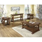 Found it at Wayfair - Barrington Coffee Table Set; distressed finish; sturdy and interesting.