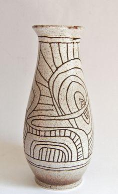 Gorgeous Lapid Israel Modernist Sgrao Vase Ceramic Decor Gl Bowls Pottery
