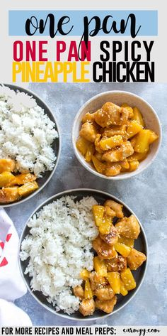 This one pan spicy pineapple chicken meal prep with have you craving more! It's made in one pan, healthy, sweet, and spicy plus it's is way better than takeout! #chickenrecipes #mealpreprecipes #onepotrecipe via @runcarmyrun