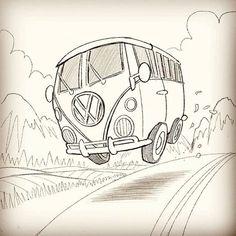 VW Bus Ausmalbild  Hochzeit  Pinterest  Auto zeichnen