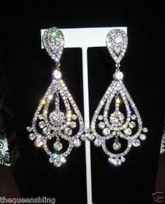 4 Long XL Clear Crystal Pageant Competition Drag Queen Earrings Clip   eBay Competition Hair, Bikini Competition Suits, Bikini Jewelry, Jewellery, National American Miss, Miss Texas, Pageant Earrings, Pageants, Bikini Workout