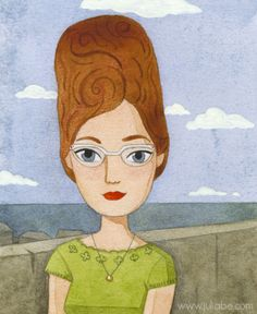 """""""Miss Beehive 1963"""" Watercolor and colored pencils"""" The picture looks like my mother when she was young :-)"""