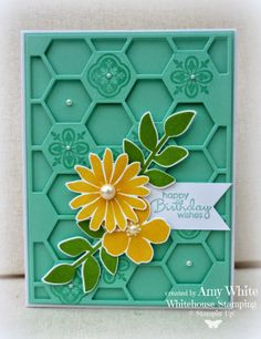 handmade card by White House Stamping: Secret Garden Hive... ... great colors ... aqua base with mustard and olive stamped and die cut flowers ... like the was small images are stamped tone on tone on the solid hexagons of the hexagon die cut background ... great card!! ... Stampin'Up!