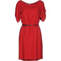 Miu Miu Short Dress (1,015 CAD) ❤ liked on Polyvore featuring dresses, red, short-sleeve dresses, miu miu, short dresses, red dress and short sleeve dress
