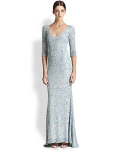 Theia - Sequined Silk Gown, $598