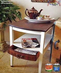 This lovely side table was made over by Cottage Paints, http://cottagepaints.com/.  They used General Finishes Antique White Milk Paint and our Java Gel Stain.  Visit Cottage Paints in Jenks, OK to buy GF products!  #generalfinishes #gfmilkpaint #javagel