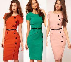 New 2014 Women Summer Empire Dress Cotton V-Neck Knee Length Button Vintage Business Party Career Work Wear Bodycon Pencil Dress