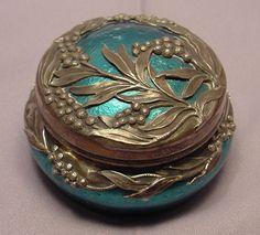 Rare French Silver Enamel Porcelain Box Signed Milet