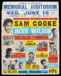 Sam Cooke, born on 22 January was not only a soul icon, but one of the first African-American stars with a grasp of how the music business worked. Vintage Concert Posters, Vintage Posters, Retro Posters, Norman Rockwell, Monet, Pillos, Sam Cooke, Blue Poster, Rock Posters