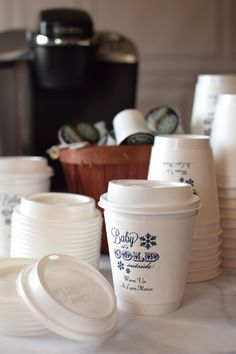 Having a coffee and hot chocolate bar? Serve up drinks in these personalized, insulated 12 ounce paper to-go cups which feature a built-in cup sleeve to keep your hands comfortable while your beverage stays nice and hot. Matching lids are included to create the perfect take home cup. Great for setting next to a winter wedding coffee station or at your Christmas party next to the Keurig or coffee pot. To view, visit http://www.tippytoad.com/12-oz-personalized-comfort-cups.asp