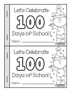 Day of School Book Let's Celebrate 100 Days of School! Book Includes: Cover Page 6 Journal Pages - I think I could eat 100th Day Of School Crafts, 100 Days Of School, Too Cool For School, School Holidays, School Fun, School Projects, School Stuff, Dr. Seuss, 100s Day