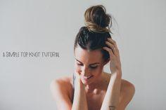Hair Tutorial // A Simple Top Knot