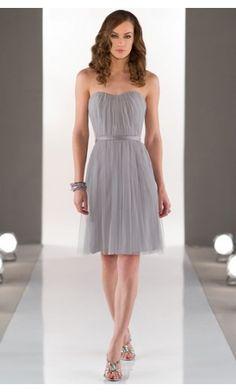 sku:b1400200; Silhouette:A-line; Hemline:Knee-length; Fabric:Tulle; Back Details:Zipper; Neckline:Strapless; Waist:Natural; Colour:Silver; Sleeve Length:Sleeveless;