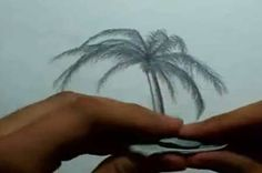 Beach Landscape - How To Draw A Palm Tree - Video Lessons of Drawing & Painting