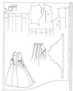 Patron Robe à la Française 1745 1750 18eme gratuit free Pattern Sack Dress18th Century Nora Waugh
