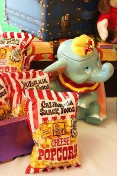 Popcorn snacks at a Dumbo circus birthday party! See more party ideas at CatchMyParty.com!