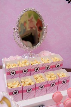 Popcorn at a Minnie Mouse Birthday Party!  See more party ideas at CatchMyParty.com!