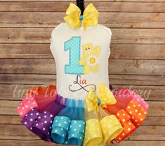 Care Bear Birthday Tutu Outfit  Funshine by TinyTotsEmbroidery