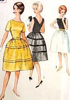 1960s Cocktail Party Dress Pattern Simplicity 4595 Vintage Sewing Pattern Bateau Neckline V Back Bell Shape Skirt Flirty Design Bust 33