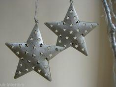 Pair-2-Hanging-Silver-Metal-Star-Decoration-Vintage-Shabby-Chic-Wedding