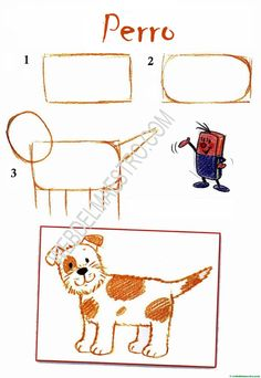 dibujos fáciles-perro Drawing Tutorials For Kids, Art Drawings For Kids, Pencil Art Drawings, Drawing For Kids, Animal Drawings, Easy Drawings, Art For Kids, Crafts For Kids, Animal Art Projects