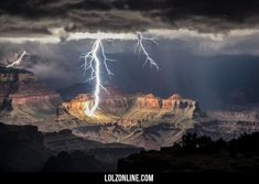 The grand canyon lit only by lightning