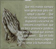 Que mis manos siempre sean ….