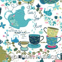 Tea Party Fabric from Hoffman Fabrics Possible guest room colors- love the colors with just a touch of pink
