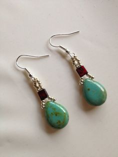 Red and Turquoise Picasso Earrings on Etsy, $25.00