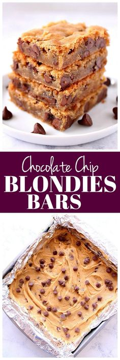 Chocolate Chip Blondies Recipe - buttery cookie bars loaded with chocolate chips. Quick and easy to make, no mixer needed!
