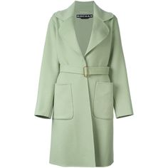 Rochas Belted Trench Coat ($1,220) ❤ liked on Polyvore featuring outerwear, coats, belted coat, green coat, trench coat, belted trench coat and rochas coat