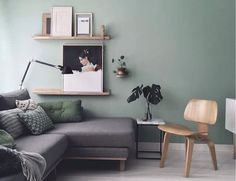 The inspiring home and studio of Maaike Koster (my scandinavian home) - I'm so excited to share the beautiful home and studio of Dutch graphic designer & interior design - Living Room Green, Living Room Modern, Home Living Room, Living Room Designs, Living Room Decor, Living Room Ideas With Grey Couch, Feature Wall Living Room, Decor Room, Apartment Living