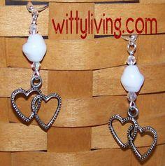 vintage heart bead earrings