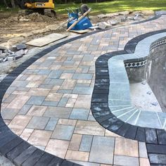 Pool project in Sparta NJ in progress. Cambridge paver patio along with decorative border and coping. Landscape Edging Stone, Landscape Design, Garden Design, Cambridge Pavers, Front Steps, Swimming Pools Backyard, Outdoor Living, Outdoor Decor, Floor Design