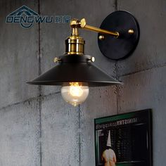 59.00$  Watch now - http://alilv1.worldwells.pw/go.php?t=32622018354 - Lamp house retro industrial loft bedroom bedside lamp modern minimalist stairways outdoor wrought iron balcony wall lamp