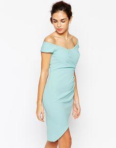 Elise Ryan Off Shoulder Pencil Dress With Asymmetric Wrap Skirt