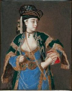 Jean-Etienne Liotard (1702-1789) Portrait of Laura Tarsi in a turkish costume, 1741
