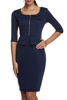 ANGVNS Women's Square Neck Busniess Peplum Fitted Casual Bodycon Dress * Quickly view this special  product, click the image : Dresses Sale