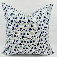 Blue  Pillow cover. Acute Vintage Indigo &  white Print.   Pillow Case. 1 piece.  cotton. Select your size