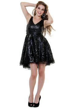 SALE! Black Sequin Starlet Short Cocktail Dress - Unique Vintage - Prom dresses, retro dresses, retro swimsuits.