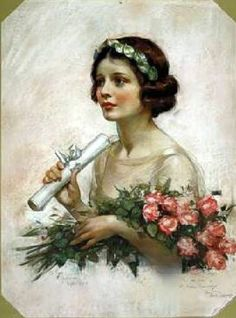Young Woman With Diploma, by Neysa Moran McMein Vintage Girls, Vintage Roses, Vintage Beauty, Female Pictures, Female Images, Vintage Artwork, Vintage Prints, Vintage Pictures, Vintage Images