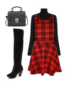 pichi estilo tartan + jersey negro cuello tortuga + botas por encima de la rodilla + mini bolso de mano