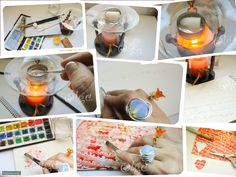 DIY, Valentines Card using a candle and watercolours. eltocadordecenicienta