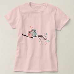 Cute owls in love on tree branch t-shirt