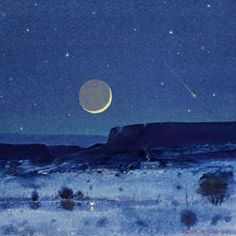 Moon Reflection, New Mexico by Tom Perkinson - watercolor/mixed media