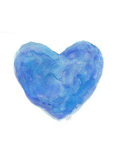 Cobalt Blue Art  Watercolor Heart Beach by OutsideInArtStudio, $18.00