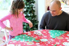 playing christmas tree math game for preschool