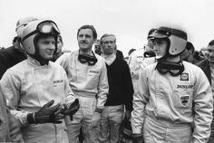 1965 — Drivers (l-r) Bruce McLaren of Cooper-Climax, Graham Hill of BRM, Mike Spence of Lotus-Climax, and Jackie Stewart, also of BRM,
